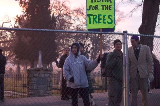 Save Oroville Trees people and the trees on the inside of the fence.