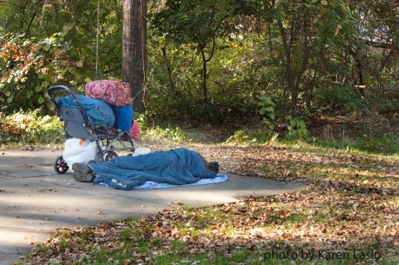 Homeless person sleeping in Annie's Glenn, Bidwell Park.