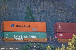 Cargo train running through the Feather River Canyon.