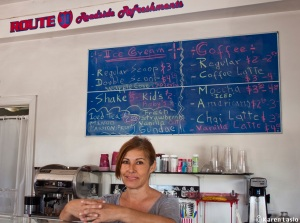 "Nelly Demosthenes has owned the local ice cream and coffee shop for 20 years. She intends to leave Mosier because ""It's too dangerous."""