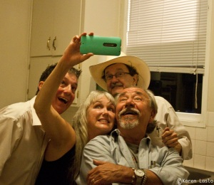Aaron Standish, Liz Merry, Jim Hightower and Will Durst, goofin' off backstage.