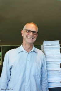 Chico City Council candidate, Karl Ory, turns in the Farmers Market petitions.